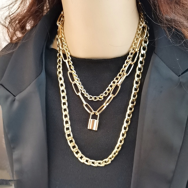 European and American jewelry, personality, geometric creativity, retro punk men's and women's chain lock necklace boako retro exaggerated link chain punk metal item necklace female simple hand chain geometric personality necklace shackles b3