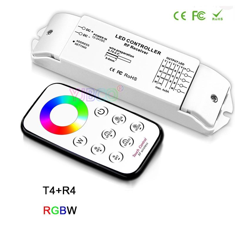 Bc t1/t2/t3/t4/t5 + r4 rf remoto sem fio escurecimento/cct/rgb/rgbw/cw cct led receptor controlador para luz de tira conduzida, DC12V-24V