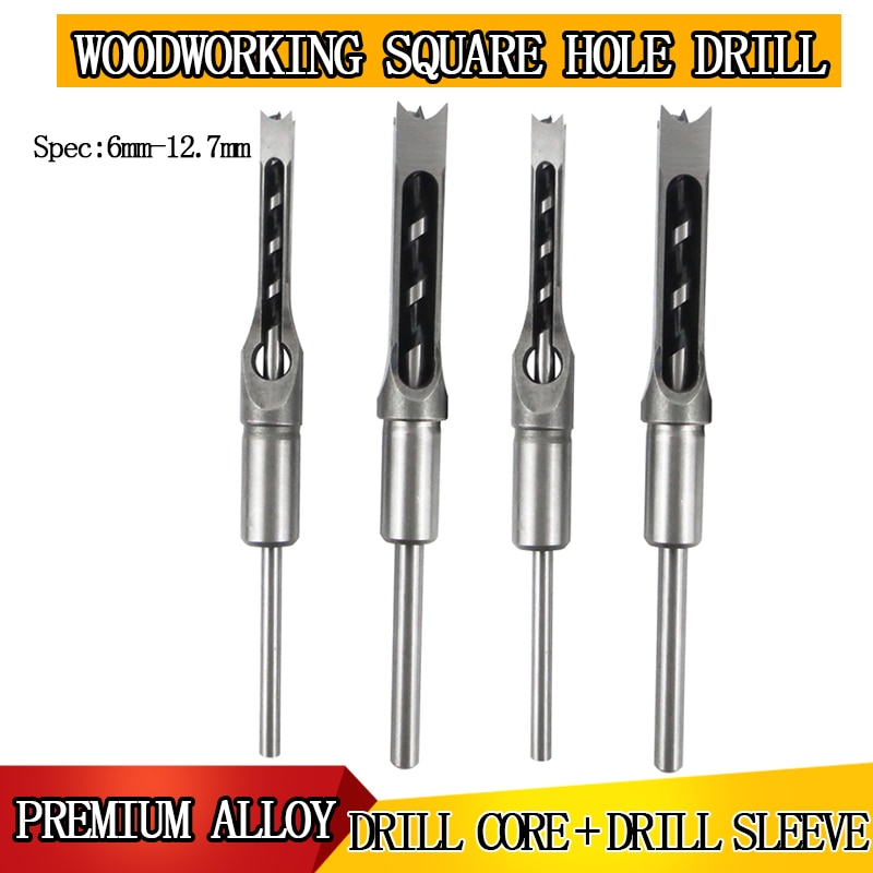1PCS square hole twist drill chisel high speed steel woodworking hole saw drill bit tool spiral hole opener set 1/2'1/4'3/8'5/16 1pcs woodworking square hole drill bearing steel square hole opener square tenon drill square eye drill punching angle