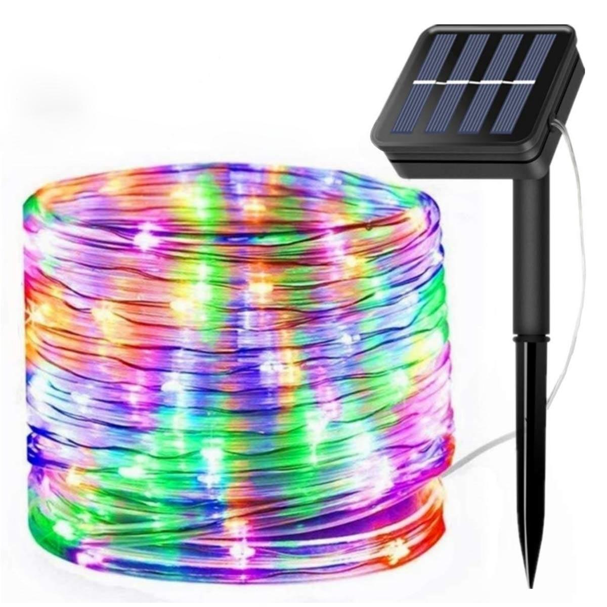 50/100/200 ledes cuerda Solar cuerda luces impermeable alambre de cobre al aire libre tubo Hada luces para camino de jardín de Navidad