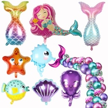 Mermaid Party Balloons 32inch Number Foil Balloon Kids Birthday Party Decorations Baby Shower Decor