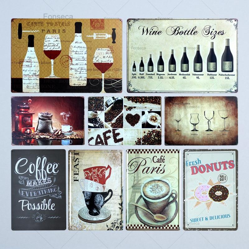 Café botella Metal pintura estaño pared Bar Café hogar Pub arte cocina decoración Sala Cuadros París café botella siges