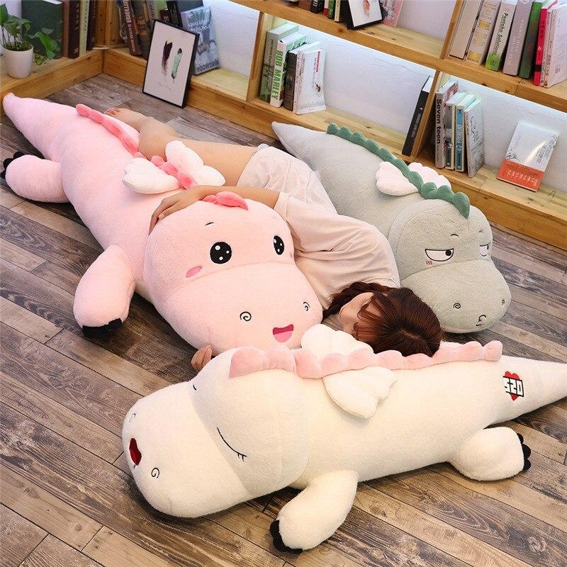 Juguete de peluche de dinosaurio grande de alta calidad Animal de dibujos animados suave tres colores dinosaurio con ala de peluche muñeca bebé amigos regalo de cumpleaños