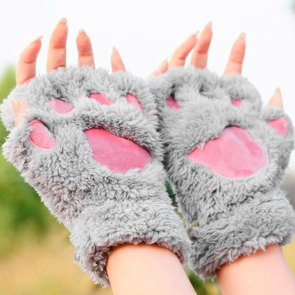100% calor sem dedos luvas de pelúcia macio bearr garra/gato pata animal macio quente adorável bonito feminino meio dedo luvas cobertas