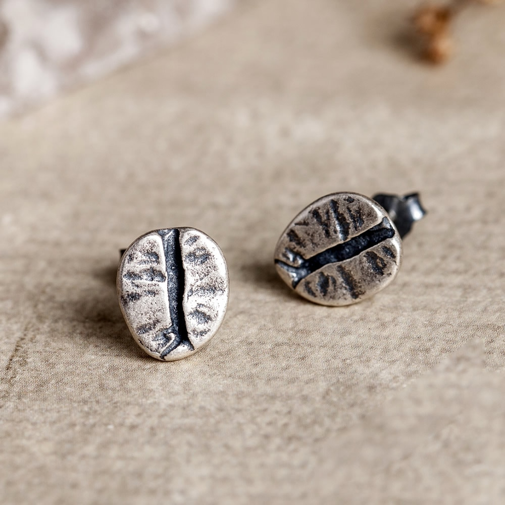 925 prata esterlina grãos de café brincos do parafuso prisioneiro feminino punk brincos vintage festa casamento jóias de prata para meninas