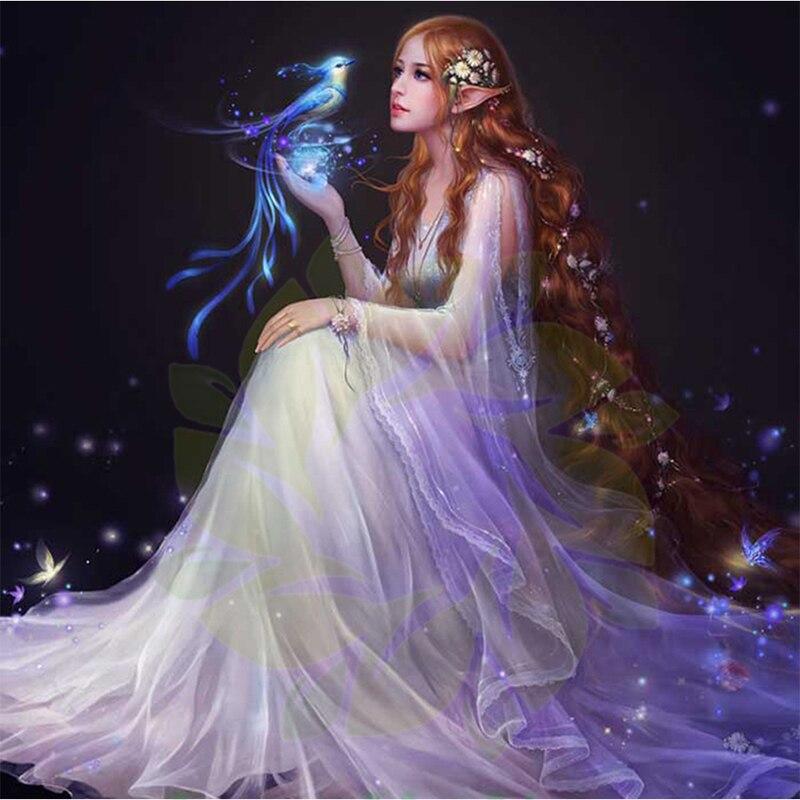 Princess Fantasy Fairy New Arrival DIY Crystal Full Drill Round 5D Diamond Painting 3D Cross Stitch Kit Mosaic Round Rhinestone