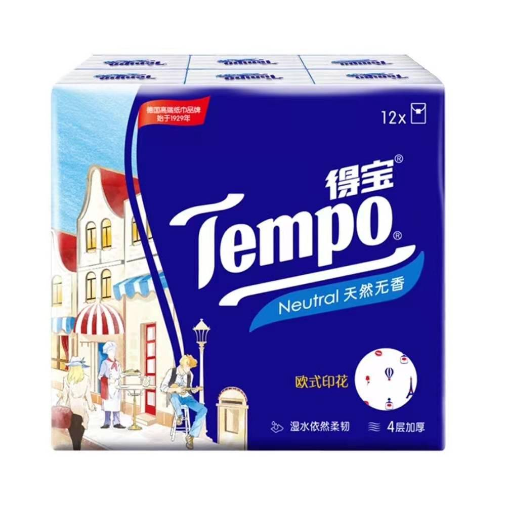 Tempo Hand Kerchief  Paper 4 Layers 12 Pack(Sent at Random)