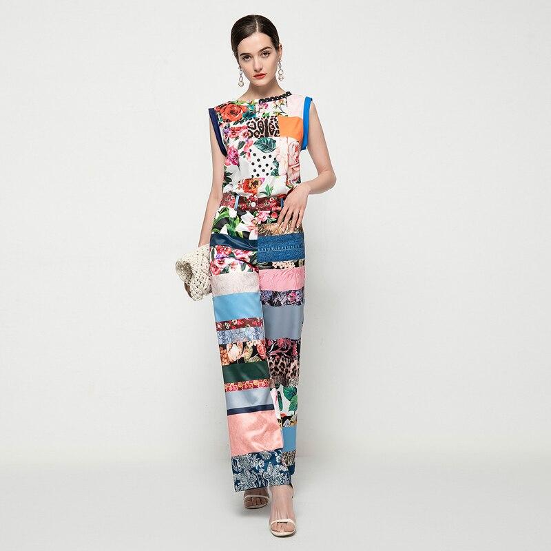 المرأة مجموعات الصيف جديد حزب عارضة مثير الأزياء سترة قمم و سراويل فضفاضة خمر المطبوعة خليط اثنين-قطعة بدلة