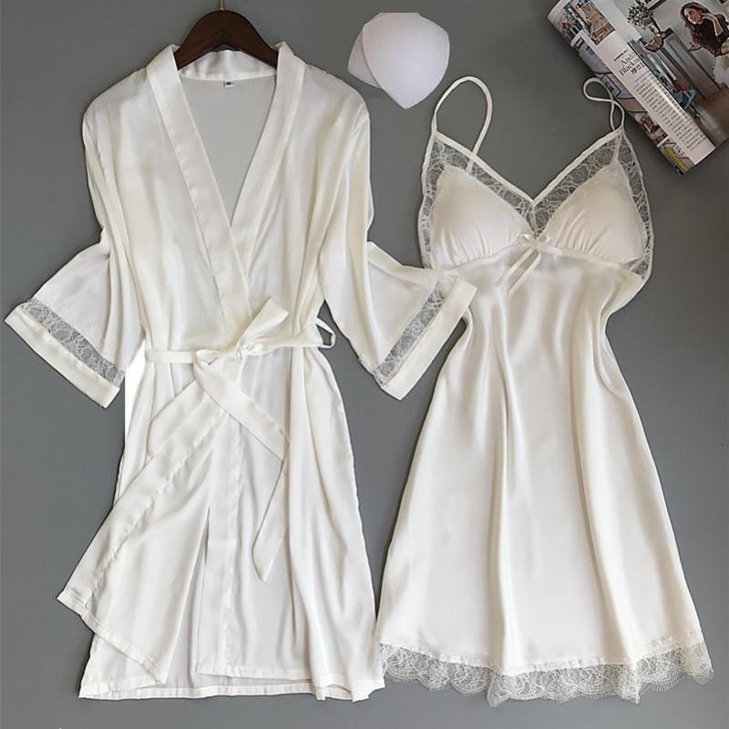 Sexy Women Rayon Kimono Bathrobe WHITE Bride Bridesmaid Wedding Robe Set Lace Trim Sleepwear Casual