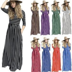 Fashion Autumn Pocket Stripe Print Bohemian Long Dress Fashion Women Long Sleeve Striped Printed Casual Pockets Long Maxi Dress