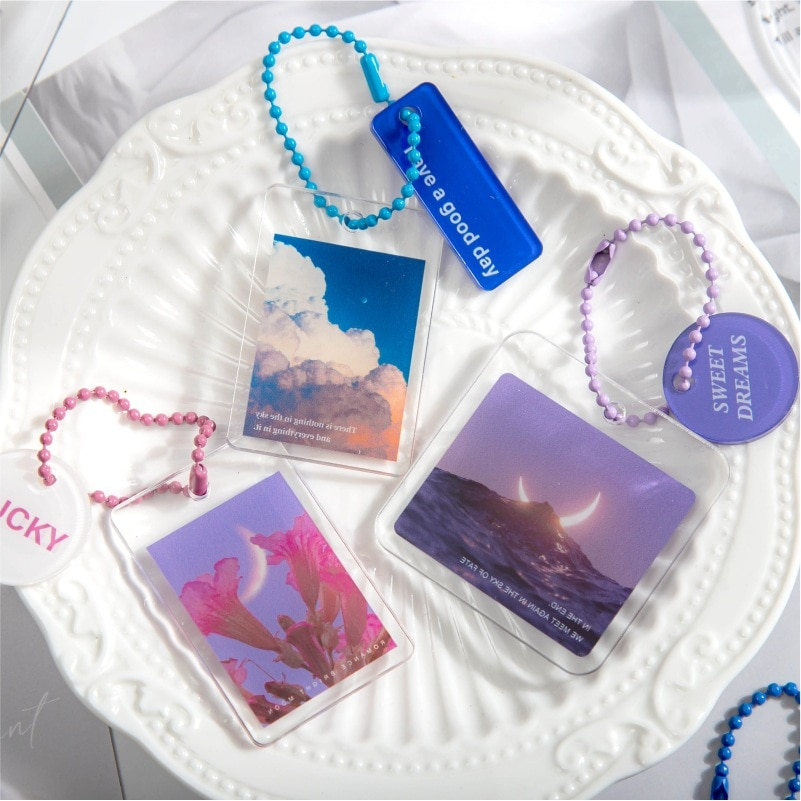 8 Designs Mixed Creative Romantic Acrylic Pendant DIY Bookmark Journal Diary Decoration Gift 35*52mm Free Shipping