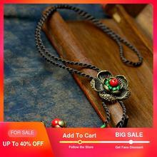 Longue maxi vintage collier femmes bronze fleur pendentif corde rouge pierre naturelle suspendus bijoux de mode 2019 offre chaude