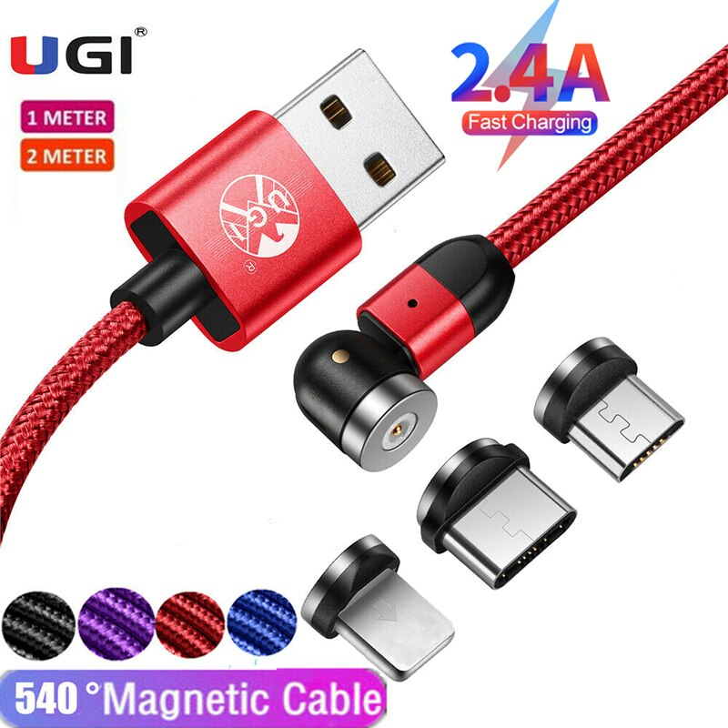 Ugi 3 In 1 360 ° 2.4A Snelle Opladen Magnetische Kabel Voor Ios Type C Kabel Usb C Kabel Micro usb Kabel Mobiele Telefoon Accessoires 715