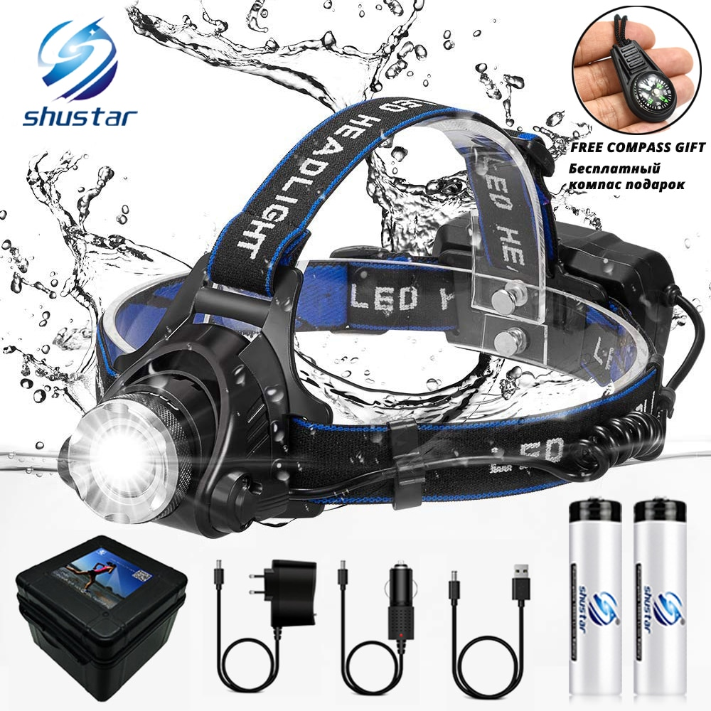 LED Headlamp Fishing Headlight T6/L2/V6 3 Modes Zoomable Waterproof Super bright camping light Powered by 2x18650 batteries