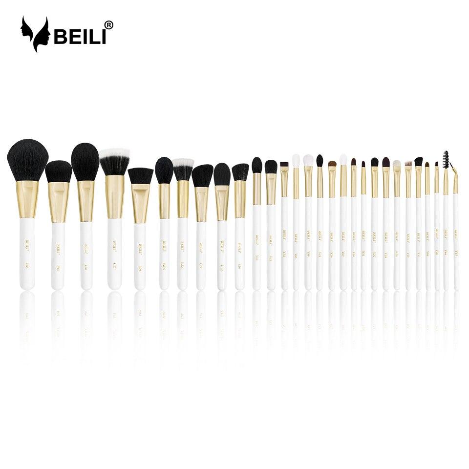 Set de brochas de maquillaje profesional BEILI, brochas de pelo Natural, base para sombra de ojos, pestañas, cejas, Perla de lujo, mango de oro blanco