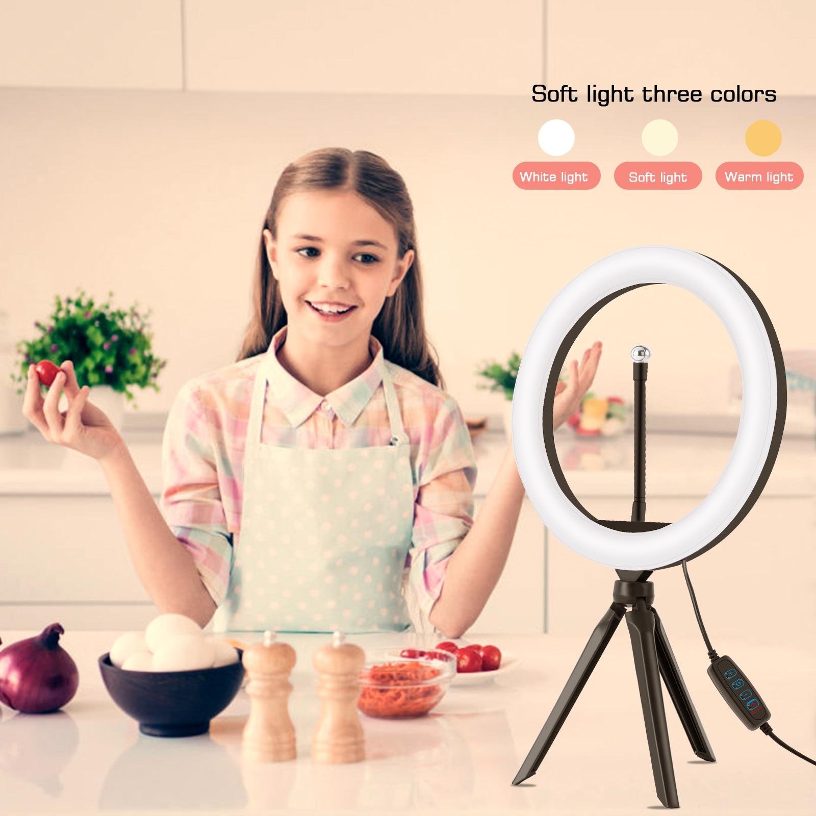 Photograph LED Fill light Diameter 26CM Dimming Lighting Beauty Lamp With Bracket Mobile Phone Clip Multifunctional Tablet