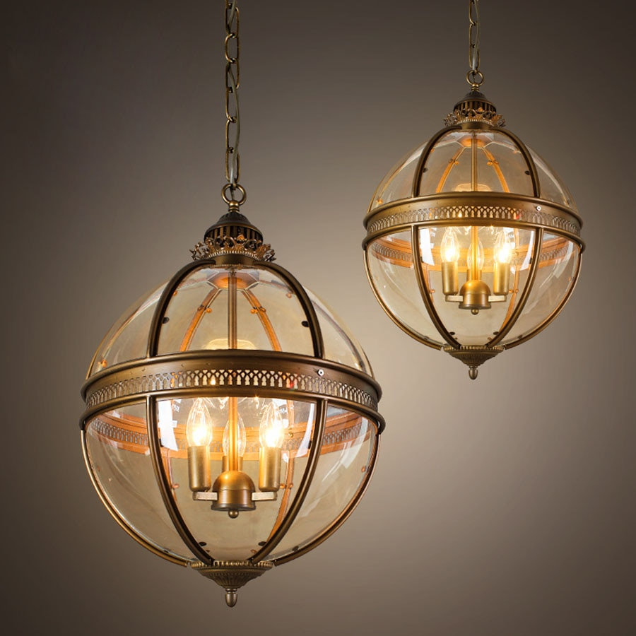 Vintage Loft globo bola colgante de luz Pantalla de Cristal lámpara colgante cocina accesorio de la barra Luste hierro forjado bombillas LED Metal