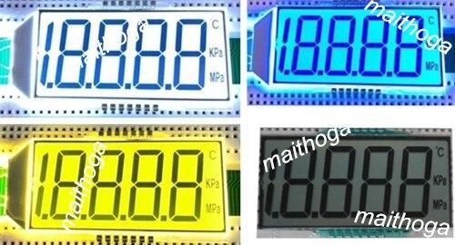 14PIN Reflection 4-1/2 Digits Segment LCD Panel 3V Yellow Green/Blue/White Backlight