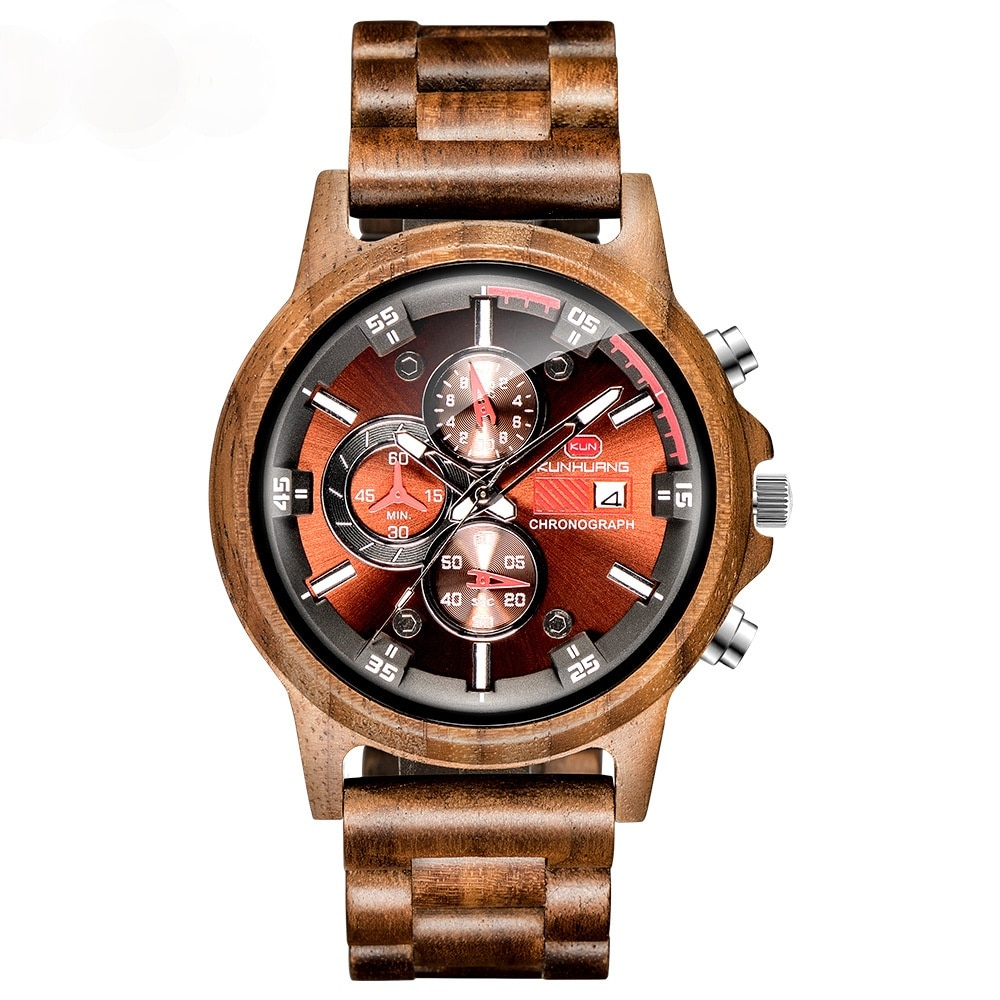 Luxury Brand Wooden Watches For Men Sport Casual Watches Mens With Luminous Hands Gifts For Men Relo