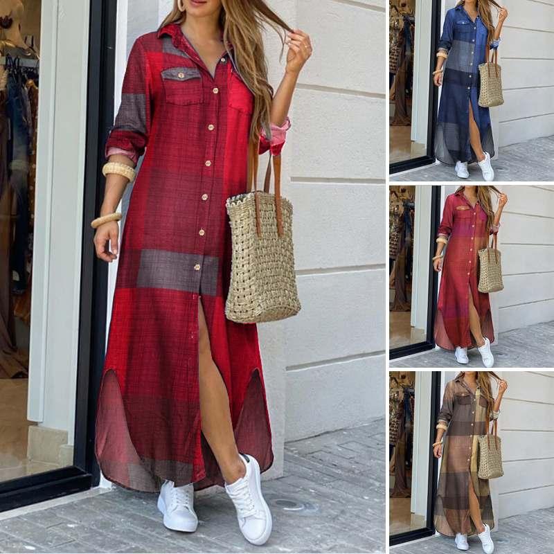Maxi Beach Dress Elegant Women Button Long Shirt Dress Summer Split Print Lapel Neck Party Dress Long Sleeve Checked Plaid Robe