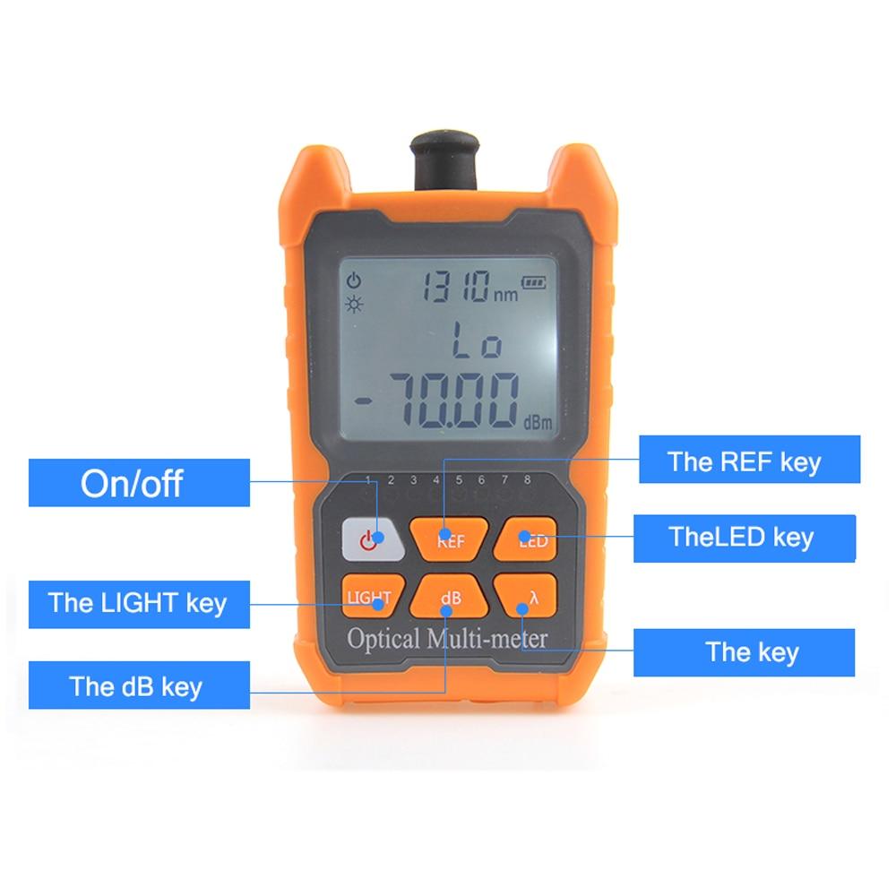 Tragbare Mini Optical Fiber Power Meter Netzwerk Kabel Tester FTTH Fiber Optic Kabel Tester 8 Wellenlängen mit LED Licht