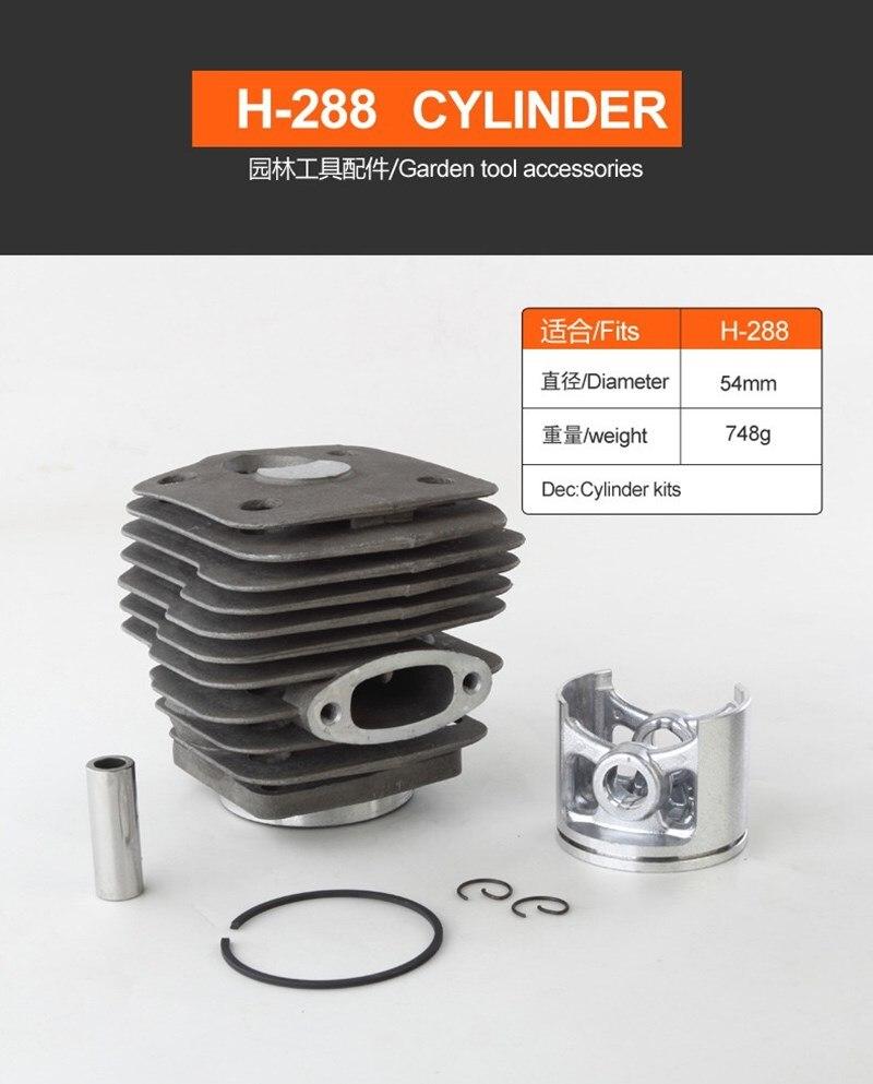 Pistón del cilindro Kits de 54mm para Husqvarn Husvarna 181 281 281XP 288 288EPA 288XP motosierra partes #503907471 de 503506302 de 503506301