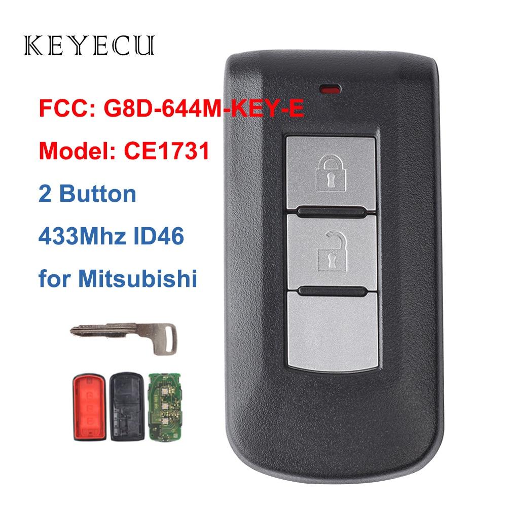 Дистанционный смарт ключ-брелок Keyecu, 2 кнопки, 433 МГц PCF7952 ID46 для Mitsubishi Lancer Outlander ASX FCC G8D-644M-KEY-E