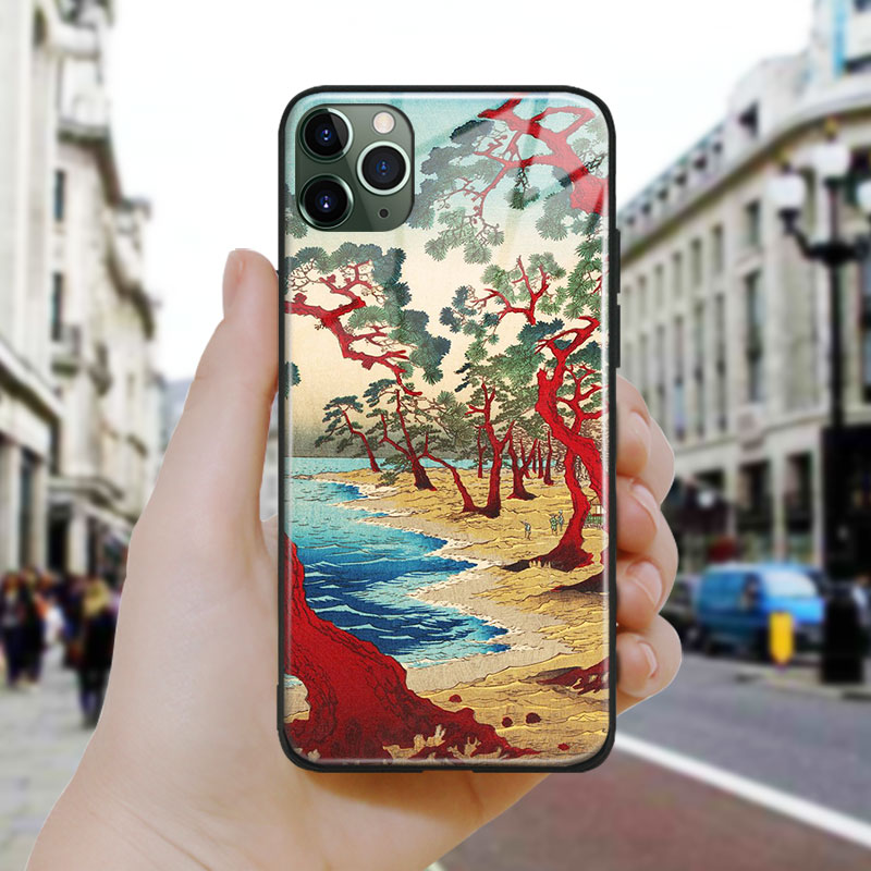 Japanese style Maiko Beach Ukiyoe Soft Silicone Glass Phone Case Cover For iPhone SE 6 6s 7 8 Plus X