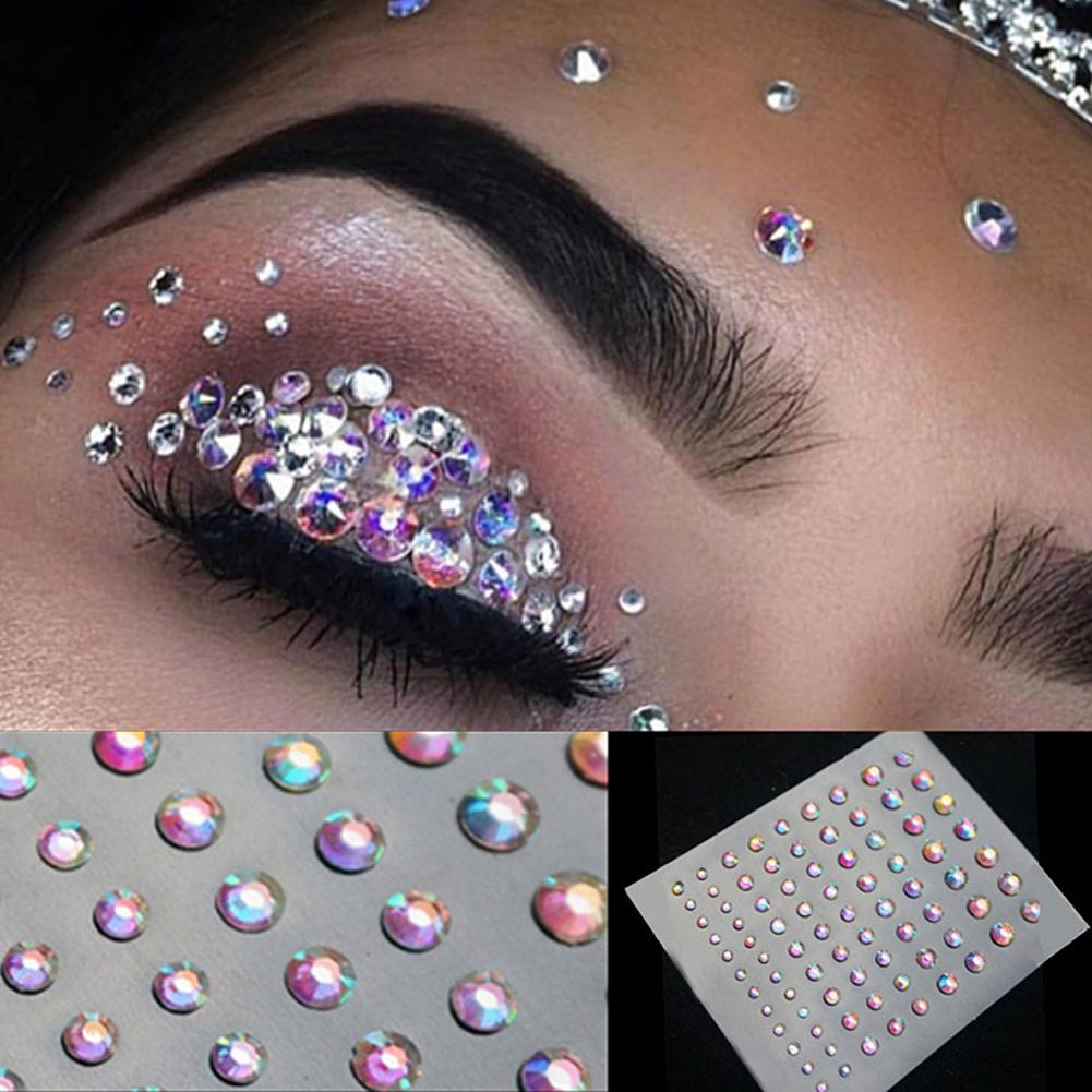 Maquillaje facial tatuaje diamante brillo temporal pegatina para ojos DIY Nail Art Rhinestone decoración maquillaje de ojos con brillo ojos de cristal pegatina para ojos