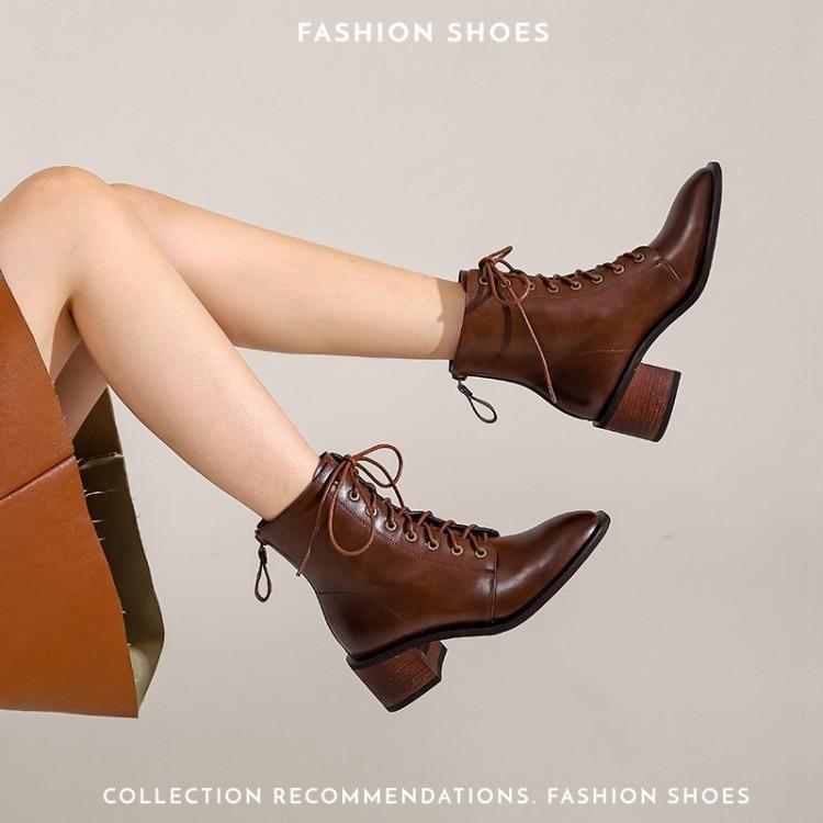 Коричневые женские ботильоны, женская обувь, кружевные ботинки до середины икры, мягкие кожаные высокие ботинки на платформе, женская модна...