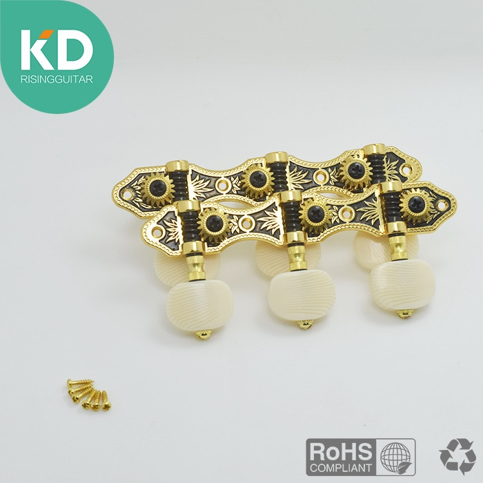 2 PC Per Set High End Classical Guitar Tuning Pegs Machine Heads Black Gold Color enlarge