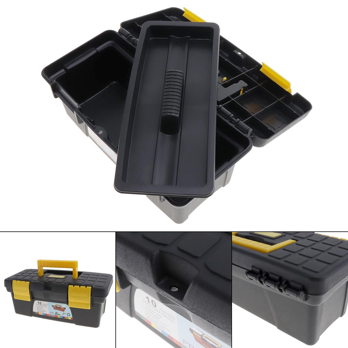 """10 """"protable multifuncional caixa de ferramentas com removível de duas camadas tobe bandeja kit de ferramentas para casa/oficina recolher"""