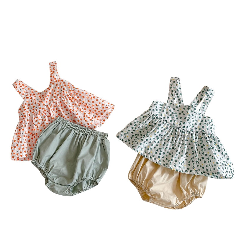 toddler baby girl kid outfit set tops t shirt tank floral skirt beach dress 1 5y 2021 Summer Baby Girl Clothes Floral Cotton Tops Shorts Sets Toddler Baby Girl Outfit Set Toddler Infant Clothing