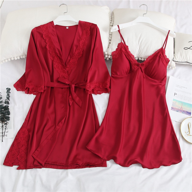 Red Women Nightdress Satin Sleepwear Bride Bridesmaid Wedding Robe Lace Patchwork 2PCS Nighty&Robe Suit Sexy Intimate Lingerie