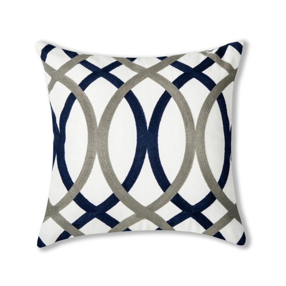 Colorful Versatile Modern Minimalist Geometric Embroidery Pillow Cover for Office
