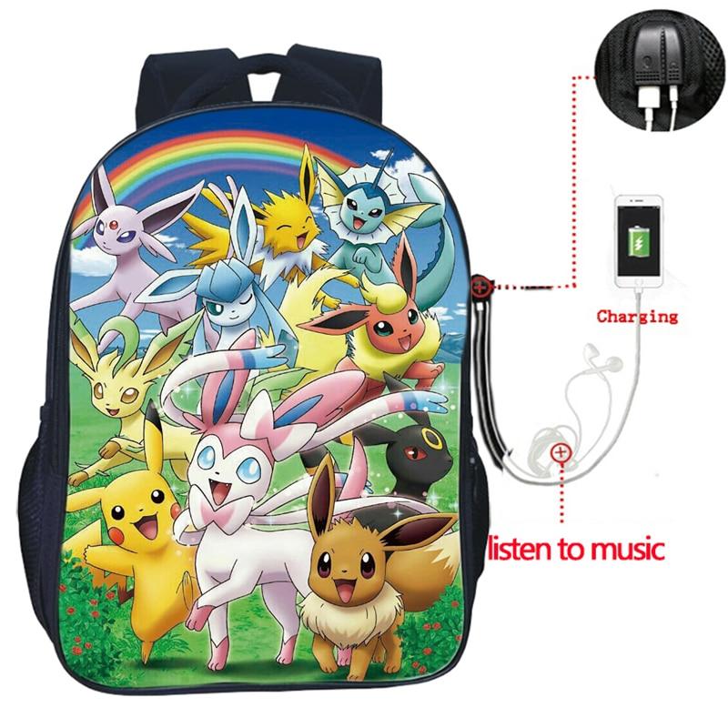 Высокое качество Покемон Evee USB зарядка Рюкзак Пикачу студентов школьные сумки USB зарядка двойной карман школьная сумка рюкзак с покемоном ...
