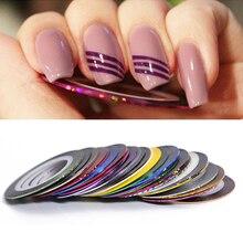 2mm mat paillettes ongles Striping bande ligne Multi couleur ongles style outil autocollant décalcomanie bricolage Nail Art décorations