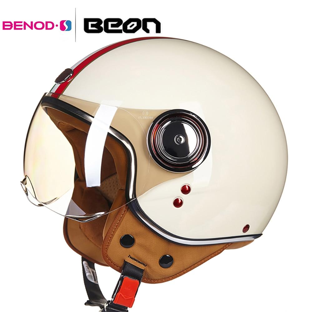Beon capacete da motocicleta do vintage 3/4 abrir rosto capacete casco capacete das mulheres dos homens scooter capacete de moto
