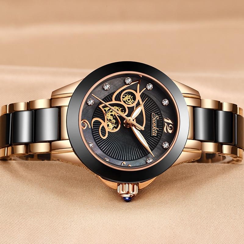 SUNKTA Brand Luxury Women Watches Black Ceramic Diamond Ladies Watch Waterproof Quartz Wristwatch Relogios Femininos Clock Gift enlarge
