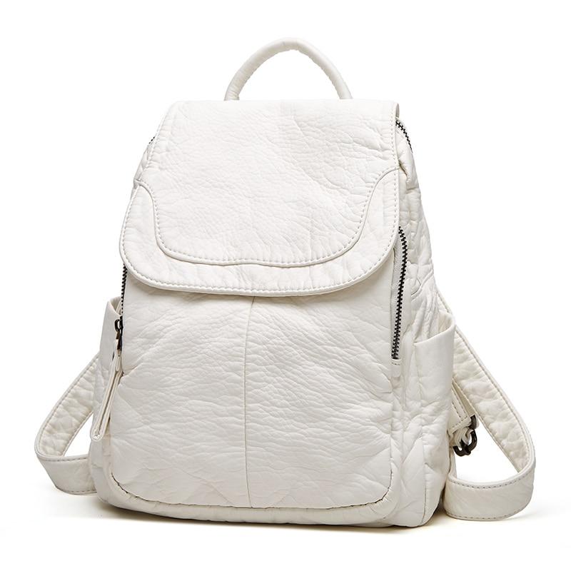 حقيبة ظهر نسائية فاخرة من الجلد الأبيض المغسول بسعة كبيرة حقيبة ظهر جلدية ناعمة غير رسمية حقيبة ظهر نسائية أنيقة تناسب جميع الأعمار