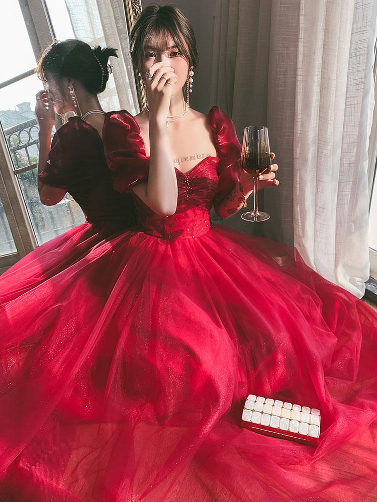 فستان سهرة عتيق بياقة على شكل قلب وأكمام منتفخة على شكل حرف A فستان كلاسيكي بلون أحمر خمري بدون ظهر نحيف لحفلات التخرج