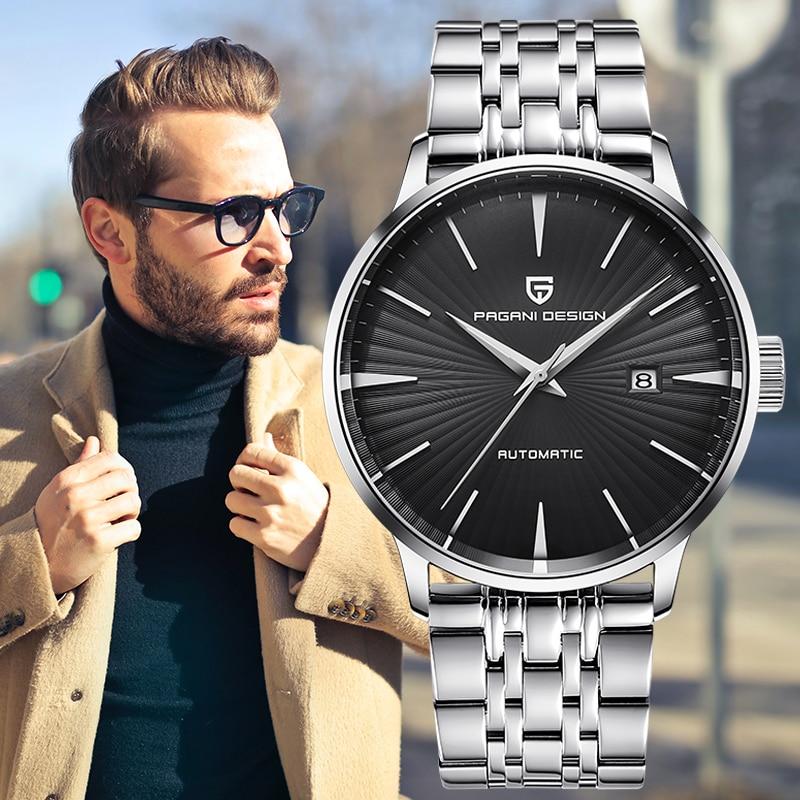 ساعة يد ميكانيكية للرجال من PAGANI Design, ساعة يد ميكانيكية للرجال بتصميم بسيط أوتوماتيكية رياضية مقاومة للماء للرجال