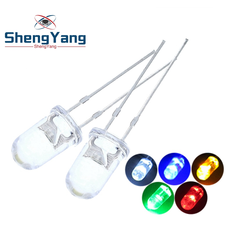 100pcs /lot Transparent Round 5mm super bright water clear Green Red white Yellow Blue Light LED bulbs emitting diode F5