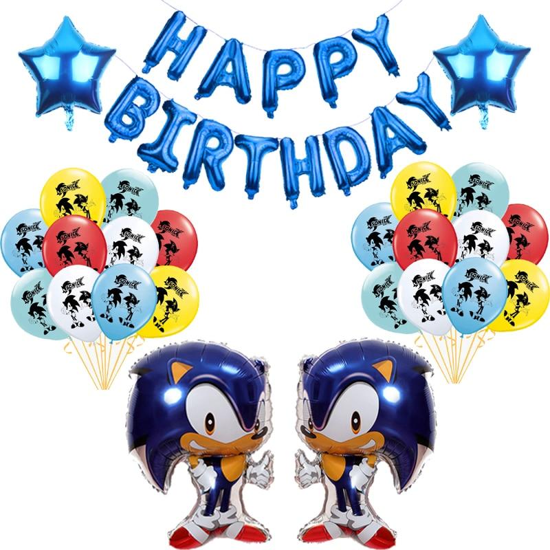 Nuevo Sonic el Hedgehog globos Super héroe juego de Sega Fans de chico globo Feliz cumpleaños banner fiesta niños juguete decoración suministros