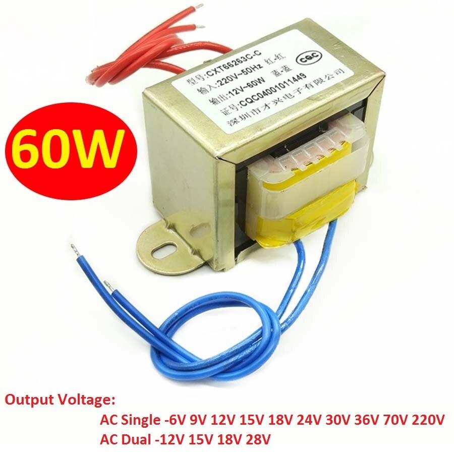 EI66 60 واط/VA محول الطاقة المدخلات التيار المتناوب 220 فولت/380 فولت ~ 50 هرتز الناتج التيار المتناوب واحد/المزدوج 6 فولت 9 فولت 12 فولت 15 فولت 18 فولت 24 ف...