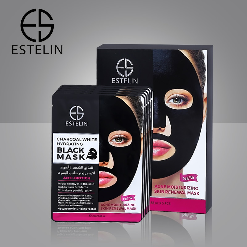 5PCS/Box Charcoal White Hydrating Black Mask Ance Moisturizing Skin Renewal Mask Oil Control Cleansing Mask