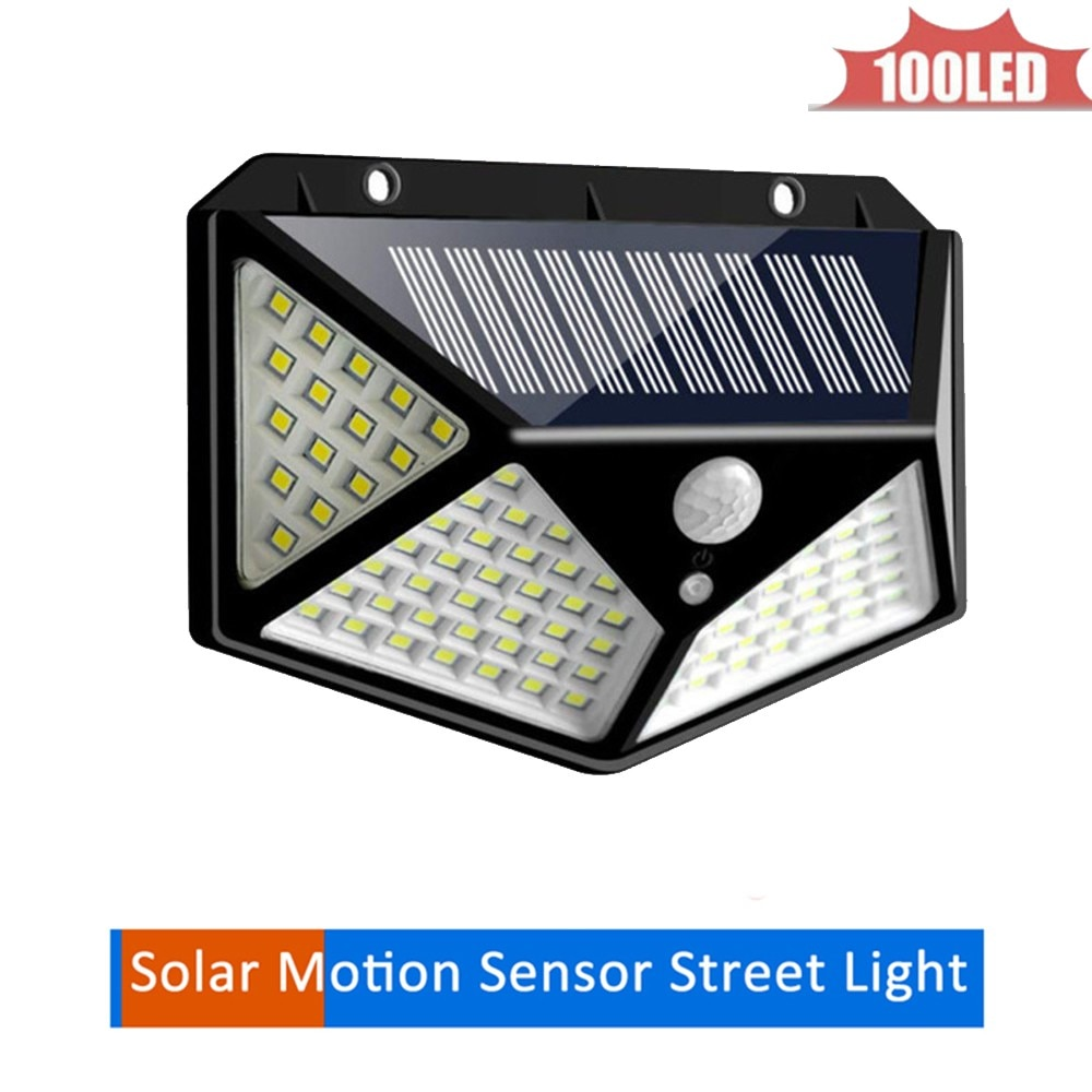 Solar 100 LEDs Dark Sensor Solar Light Solar Lamp Light Spotlight Wall Lamps Floodlight Outdoor Emergency Flood Light 4 sided 27