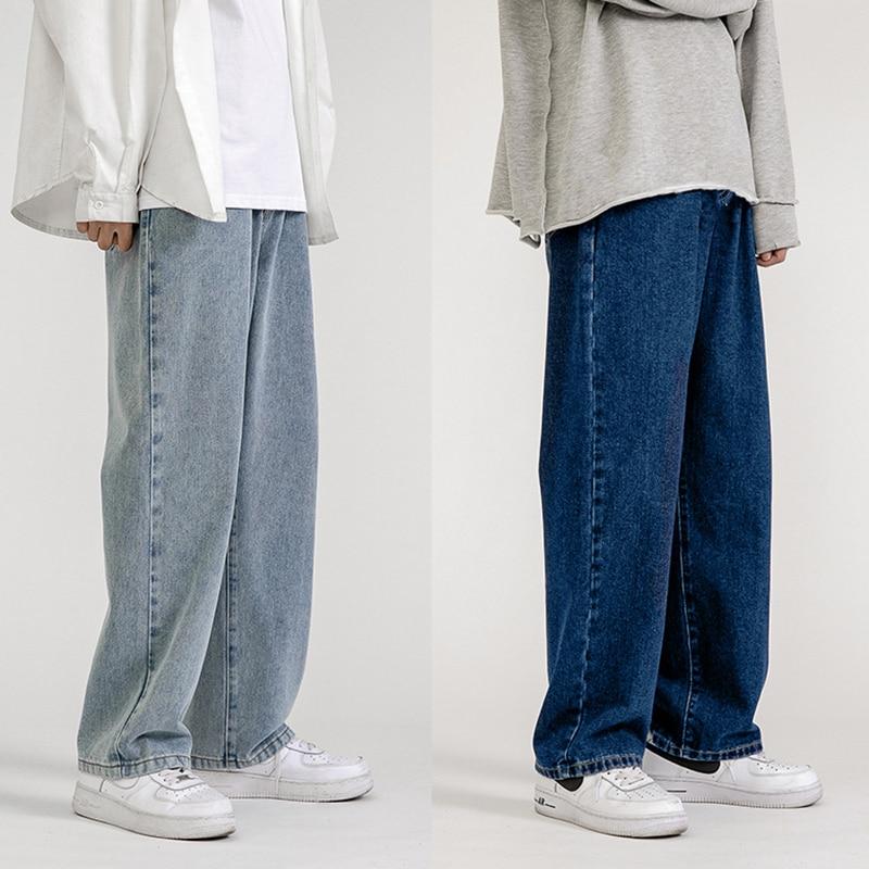 Men's Jeans Fashion Loose Straight New Casual Wide Leg Pants Cowboy Mans Streetwear Korean Hip Hop Trousers  Spring Summer jeans