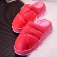 women slippers new winter pu leather non slip warm waterproof house indoor slippers waterproof home house shoes