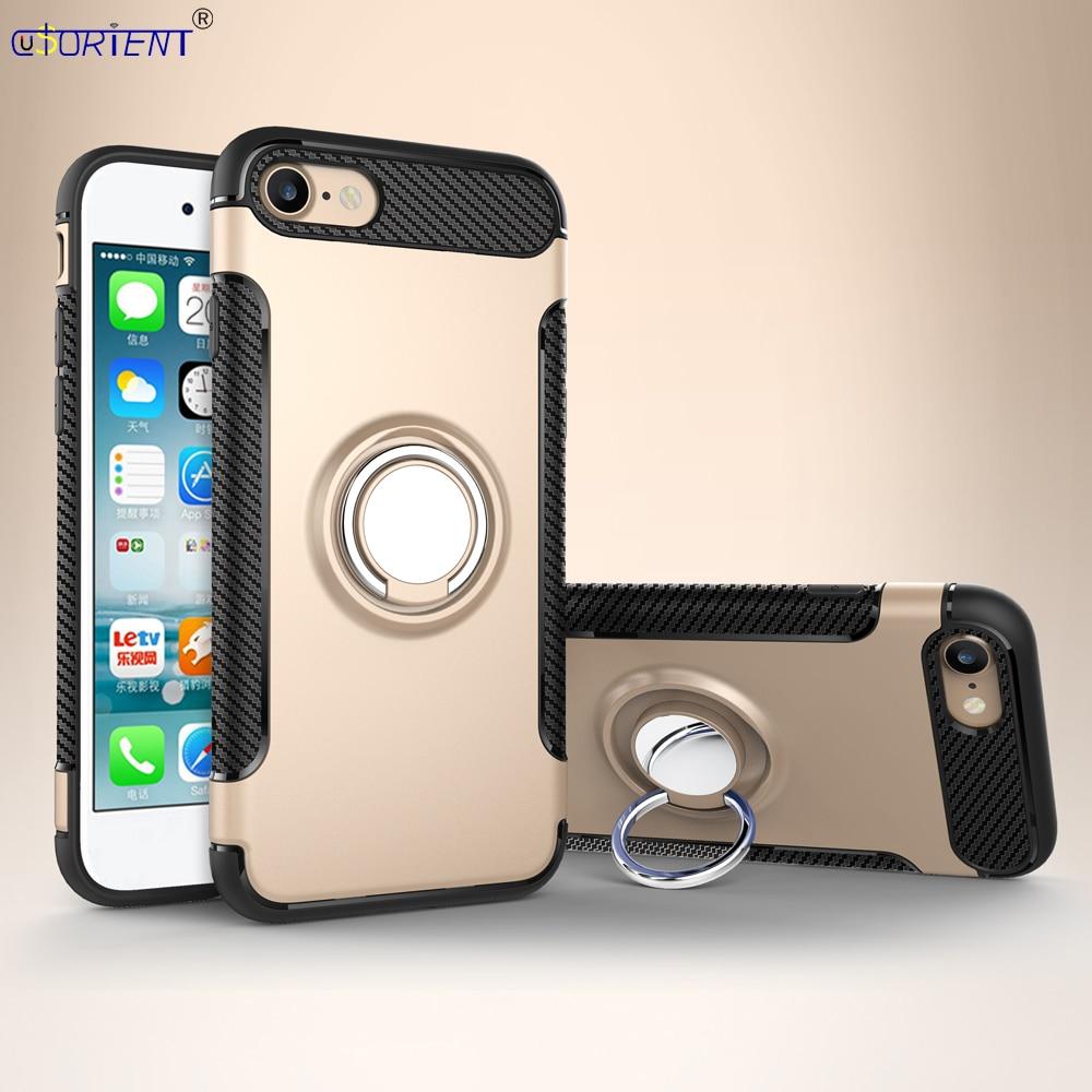 Para iPhone 7 De Apple 8 anillo de dedo a prueba de golpes funda trasera iPhone8 fundas iPhone7 carcasa de parachoques iP7 iP8 7S soporte de coche cubierta completa